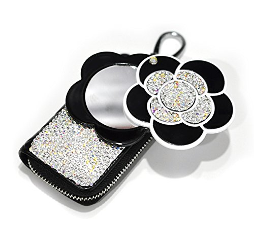 Bestbling Bling Bling Car Key Holder 3D Handmade Leather Auto Key Case Car Key Gourd Leather Holder Cover Case with Luxury Bling Crystal Diamond Rhinestones (Camellia) (Ring Key Auto Leather)