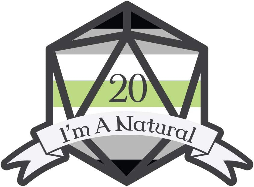 Dark Spark Decals I'm A Natural 20 Agender D20 LGBT Pride Dice - 4 Inch Full Color Vinyl Decal for Indoor or Outdoor use, Cars, Laptops, Décor, Windows, and More