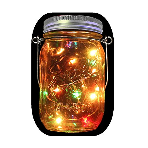 1-Pack Solar Powered Mason Jar Lights (Mason Jar & Handle Included),5 Colors 10 Bulbs Waterproof Jar Hanging Light,Garden Outdoor Solar Lanterns,Hanging Lantern,Mason Jar Decor,Table Light,Patio Path