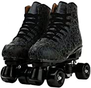 PU Leather Roller Skates Four-Wheel Premium Roller Skates Four-Wheel Roller Skates Double Row Shiny Roller Ska