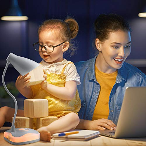 LED Desk Lamp, AXTEE Desk Light Lamp Touch Control Dimming Light, Flexible USB Rechargeable Eye-Caring Study Table Lamp, Adjustable Children Book Light with Base Light for Study Bedroom