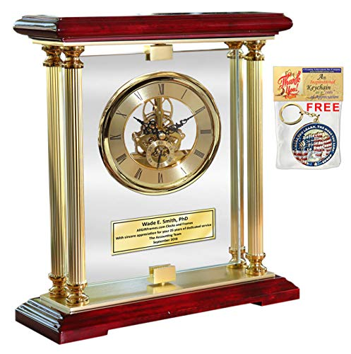 Eleganza Gold Gear DaVinci 360 Degree Spinning Glass Personalized Desk Mantle Clock Table Top Engraved Boss Coworker Retirement Recognition Wedding Anniversary Mantel Service Award -
