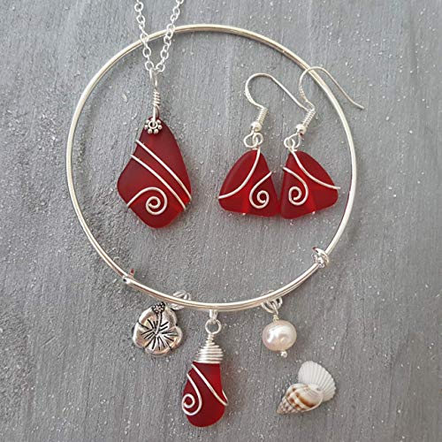 Wire Wrapped Ruby Red sea glass necklace + earrings + bracelet Set,
