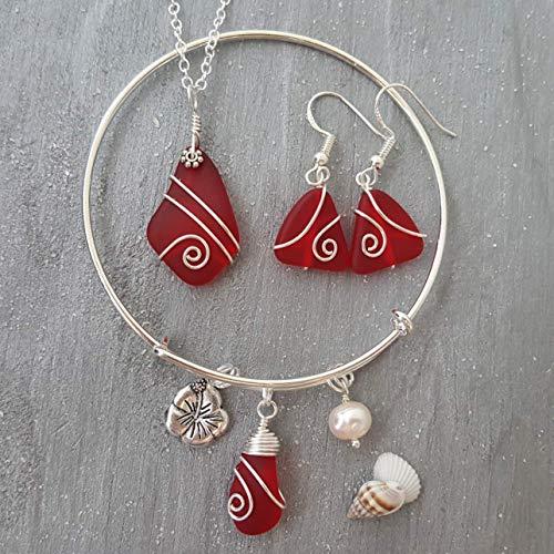 Handmade in Hawaii, Wire Wrapped Ruby Red sea glass necklace + earrings + bracelet jewelry set,