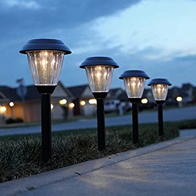 Solar Pathway Lights Outdoor, Kohree Led Solar Landscape Lighting for Path Walkway Driveway Garden Patio Yard, Stainless Steel Black, 8 Packs