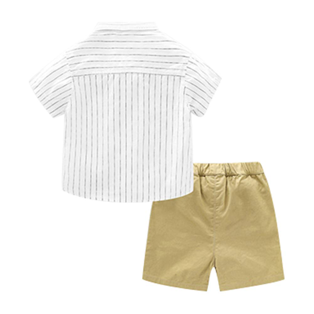 UWESPRING Cute Boys Outfits Summer Stripe Shirt and Short with Bow Tie