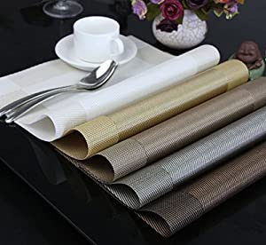 kidcia Placemats for Table, Woven Vinyl Heat-resistant Washable Stain-resistant Kitchen PVC Non-slip Insulation Placemats Set of 4 (golden forest)