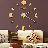 Sucastle DIY, ultra quiet, art, wall, clock, romance, sun and moon, stars, living room, creative, decorative bell, WYFC