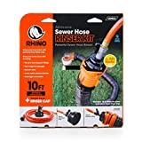 """Camco 22999 Orange RhinoFLEX Gray Clean System with Hose and Jet Rinser Cap-Ideal for Flushing Black, Grey Water or Tote Tanks 5/8"""" Inside Diameter"""