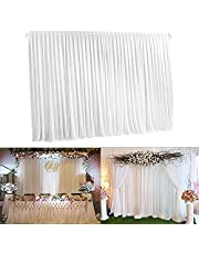 Wisfor 7ft x 7ft White Silk Wedding Photography Background Curtain Decoration Backdrop Drapes Curtains for Stage Wedding Party Backdrop Photography