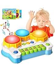 ACTRINIC Baby musikleksaker trummor piano musikinstrument, lärande och utveckling tidigt pedagogiskt spel med ljus/musik presentleksaker för 3-åring + flickor/pojkar/småbarn