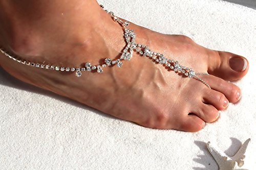 Anklet Sparkling Sandals Themed Luxurious Beach Barefoot Design Clear Wedding Elegant Crystal Rhinestone HzIFqw
