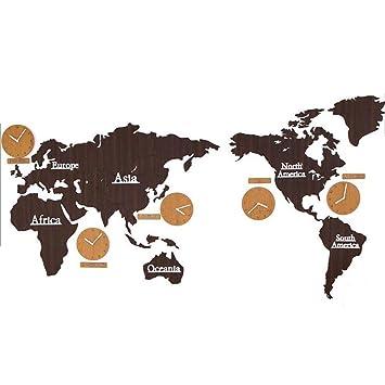 XFF Mapa del Mundo Reloj de Pared Creativo De Madera Digital Silencio Montado en la Pared