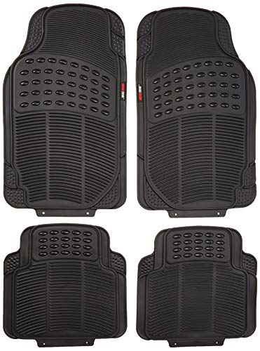 Motor Trend FlexTough Heavy Duty Car Floor Mats - 4 PC 100% Odorless & All Weatherproof (Black) - MT754BKAMw1