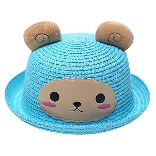 (Cartoon Animal Straw Hat Visor Cap for Unisex Children Kids Baby Boy Girl Summer Breathable Sun Protection Beach Hats (A18,)