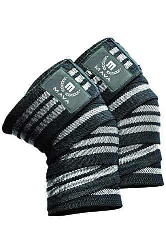 Mava Sports Knee Wraps (Pair) for Cross Training WODs,Gym Workout,Weightlifting,Fitness & Powerlifting - Best Knee Straps for Squats - for Men & Women- 72'-Compression & Elastic Support (Gray)
