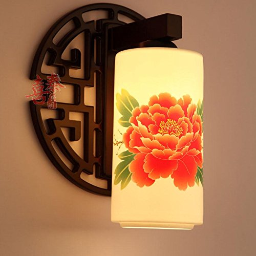 Leihongthebox Wall Sconce Chinese ceramic Wall Sconce lights solid wood art mirror front LED Wall Sconce lights low tire porcelain of Jingdezhen light, i love 5133 with eggshell straight orange peony