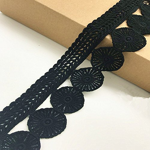 7CM Width Europe Circle trims pattern Inelastic Embroidery Trims,Curtain Tablecloth Slipcover Bridal DIY Clothing/Accessories.(4 yards in one package) (Black)