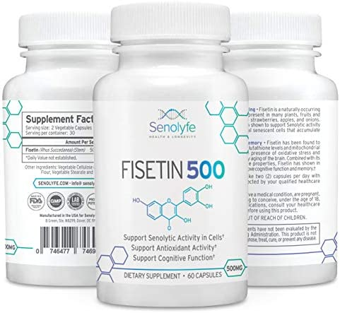 Fisetin 500 500mg 98 Pure Fisetin – Natural Senolytic Compound Longevity Support