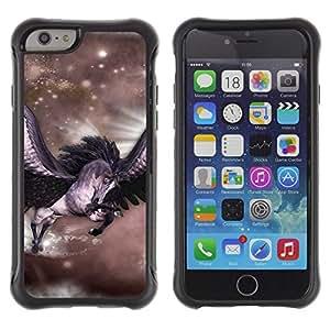 All-Round híbrido Heavy Duty de goma duro caso cubierta protectora Accesorio Generación-II BY RAYDREAMMM - Apple iPhone 6 - Pegasus Stars Horse Wings Flying Mystical