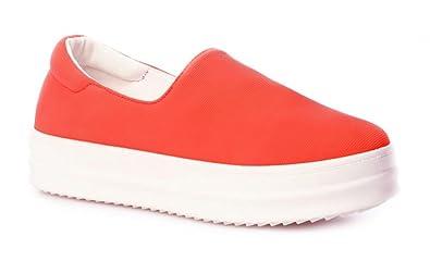 Schuhzoo - Damen Slipper Sneaker Freizeitschuhe Halbschuhe Elastisch Schwarz Pink Orange Weiß Größe 36 37 38 39 40 41-Orange-37 j5Nxffh5