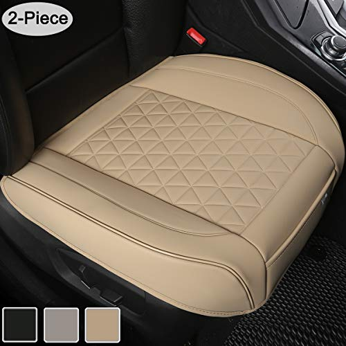 Black Panther Luxury PU Leather Car Seat Covers Protectors for Front Seat Bottoms,Compatible with 90% Vehicles (Sedan SUV Truck Van MPV) - 2 Pieces,Beige (21.26×20.86 Inches) ()