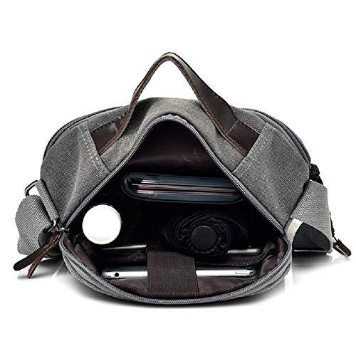 Bolso Bolso Bolso maletín Gran de Grande de Bolso Gris Ocio Oficina ZHRUI de Hombres Volumen un Hombro de Moderno Mujer Lona Vintage de Bolsillo de para portátil de Solo de R8fZq