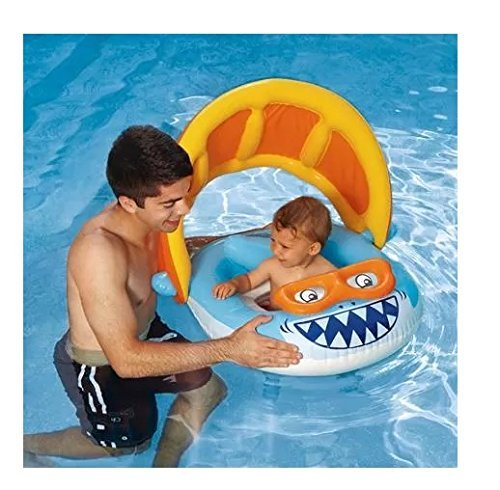 The Best Inflatable Baby Float With Sun Shade Canopy This Infant Swimming Pool Ring Is Great