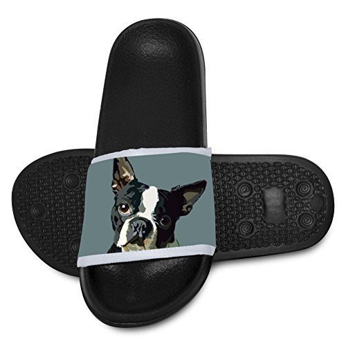 AolaZW Kids' Boston Terrier Dog Beach Sandal Non-Slip Bath Slipper Black 2 B(M) US Big kid