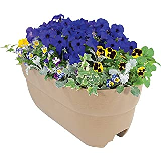 "EMSCO Group Bloomers Railing Planter with Drainage Holes – 24"" Weatherproof Resin Planter – Sand"