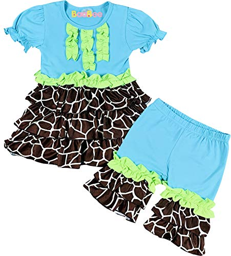 AMK Boutique Toddler Girls Safari Zoo Trip Giraffe Ruffle Top Capri Outfit Blue Lime 4T/M