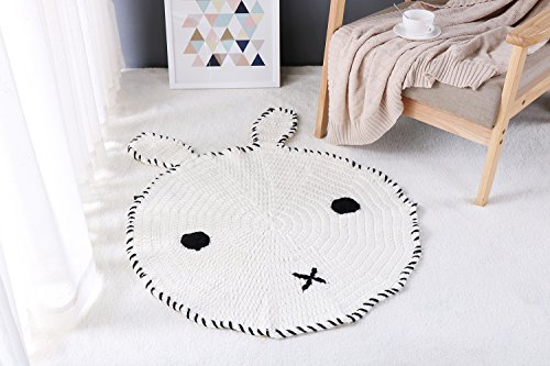 iSunShine Cable Knit Craft Baby Game Blanket Cartoon Animal Bunny Round Creeping Carpet Floor Play Crowling Mat Unisex, Large(8080cm), Black&White (Black White Game Mat)