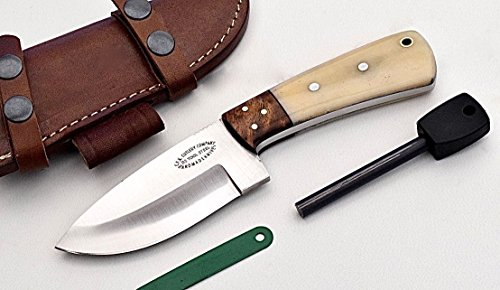 CFK Cutlery Company USA Custom Handmade D2 Tool Steel Camel Bone  Exotic Rosewood Hunter Hunting Skinning Knife  Leather Sheath  Fire Starter Rod S…