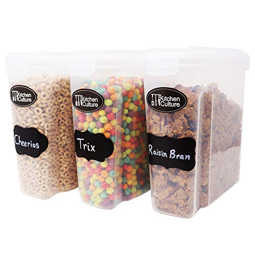 Kitchen Culture 3-Pack Cereal Container Dispenser: For Kitchen and Pantry Organization-Large Airtight Dry Food BPA FREE Plastic Cereal Containers Storage Set With Lock-Lids For Rice, Flour and Sugar