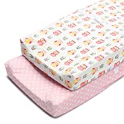 Boritar Changing Pad Covers Pink for Girls Super Soft and Semi-Waterproof 2 Pack Set, Lovely Owls and Dots Printed 16 ×32
