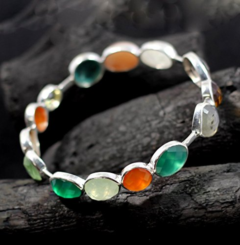 e bracelet,sterling 925,solid silver, amazing colors, handcrafted artistic design, smoky,citrine, green onyx AB1001 ()