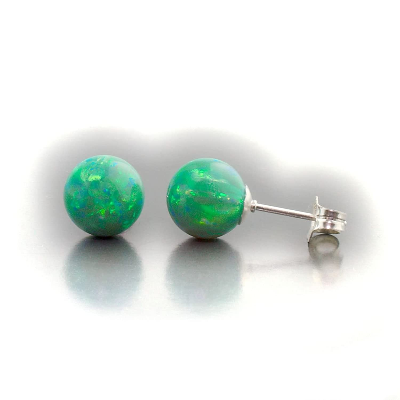 Trustmark 14K White Gold 8mm Kiwi Green Created Opal Ball Stud Post Earrings, Margarita