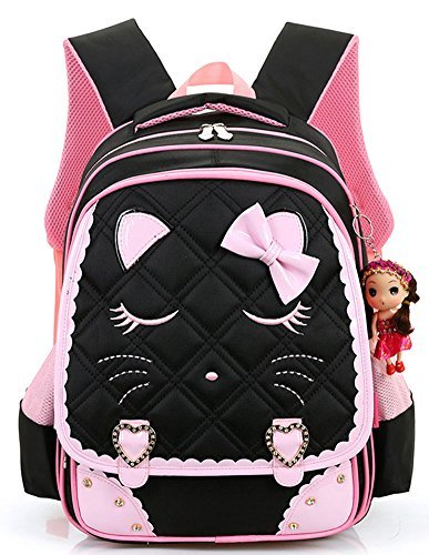 Efree Cute Cat Face Bow Diamond Bling Waterproof Pink School Backpack Girls Book Bag (Large, Black)