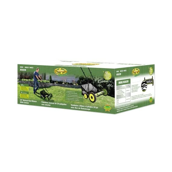 Sun Joe MJ502M Manual Reel Mower w/Grass Catcher | 20 inch 6 ✅ REEL MOWER: Powered with a push, this manual mower's 5 sharpened steel blades cut a crisp 20-inch path in a single pass - no gas, oil or electricity required ✅ ADJUSTABLE: 9 position manual height adjustment for cutting heights up to 2.44 in. deep ✅ RAZOREEL: 5 durable steel blades swiftly slice through grass for precise cutting