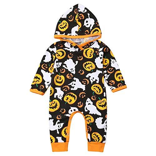 One Piece Halloween (Baby Boys Girls Long Sleeve Halloween Pumpkin Hoodie Romper One-Piece Jumpsuit (6-12M,)