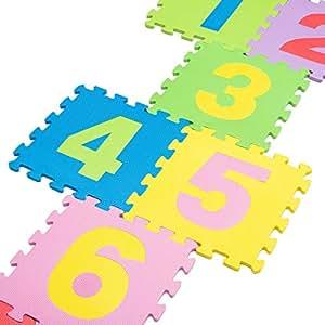 De alta calidad de BPA libre de puzzle con 9Juego Alfombrillas Números de 1–9, robusto Alfombra infantil de juego, kälteisolierende Juego Alfombrilla De Espuma, con acolchado de aislamiento, juego de Sonido, contra fríos suelos y suelo frío. COMO Gateo Matte para toben, pädagogische parte techo. (1-9)
