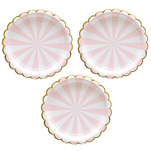 Disposable Party Paper Plates Stripe Dessert Plates 7-Inch for a Tea Party, Picnic or Birthday, Pack of 24 (7 in, Pink) (Pink Plate Cake)