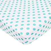 American Baby Company 100% Cotton Percale Fitted Crib Sheet for Standard Crib and Toddler Mattresses, White with Aqua Dot