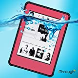 Kindle Paperwhite Waterproof Case, iThrough Underwater Case, Dust Snow Proof, Shock Durable Full Sealed Protection Case with Touched Transparent Screen for Kindle 6 Inch eBook Reader (Pink)
