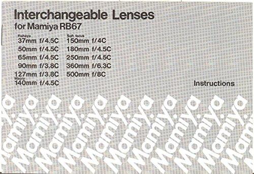 Mamiya - Interchangeable Lenses for Mamiya RB67 Original Instruction Manual