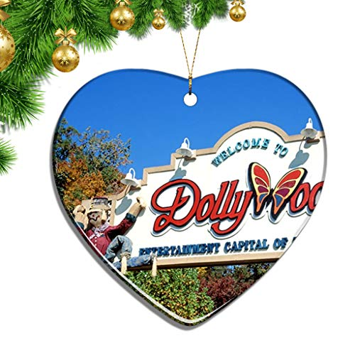 Shopping In Pigeon Forge (Hqiyaols Ornament USA America Dollywood Pigeon Forge Christmas Ornaments Ceramic Sheet Souvenir City Travel Pendant Gift Tree Door Window Ceiling Decoration)