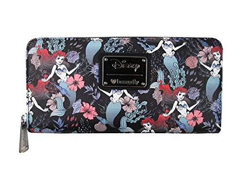 Loungefly x Ariel Floral Zip Around Wallet (Black, One Size)