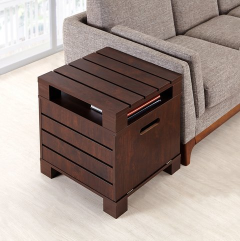 Crete Small Square Rustic Vintage Walnut Living Room End Table - Sofa Side Table with Storage