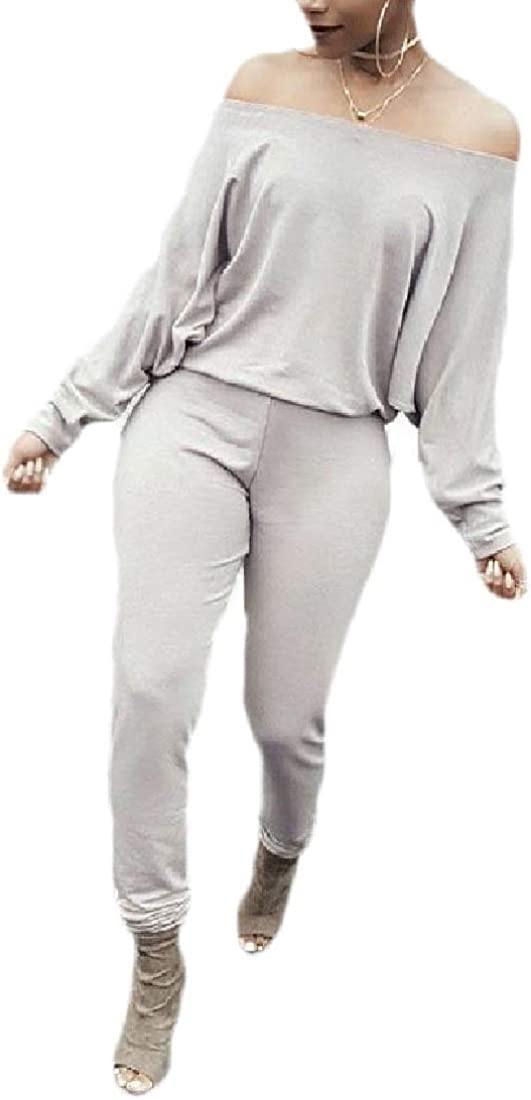 WSPLYSPJY Womens Loose Solid Colored Vogue Off Shoulder Jumpsuits Romper