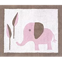 Sweet Jojo Designs Pink and Taupe Mod Elephant Accent Floor Rug